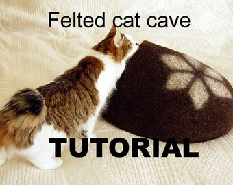 Felt cat cave tutorial - cat bed pattern - downloadable PDF - diy gift