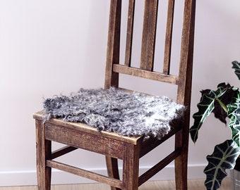 Faux Sheepskin Stool Cover, Natural wool chair cushion