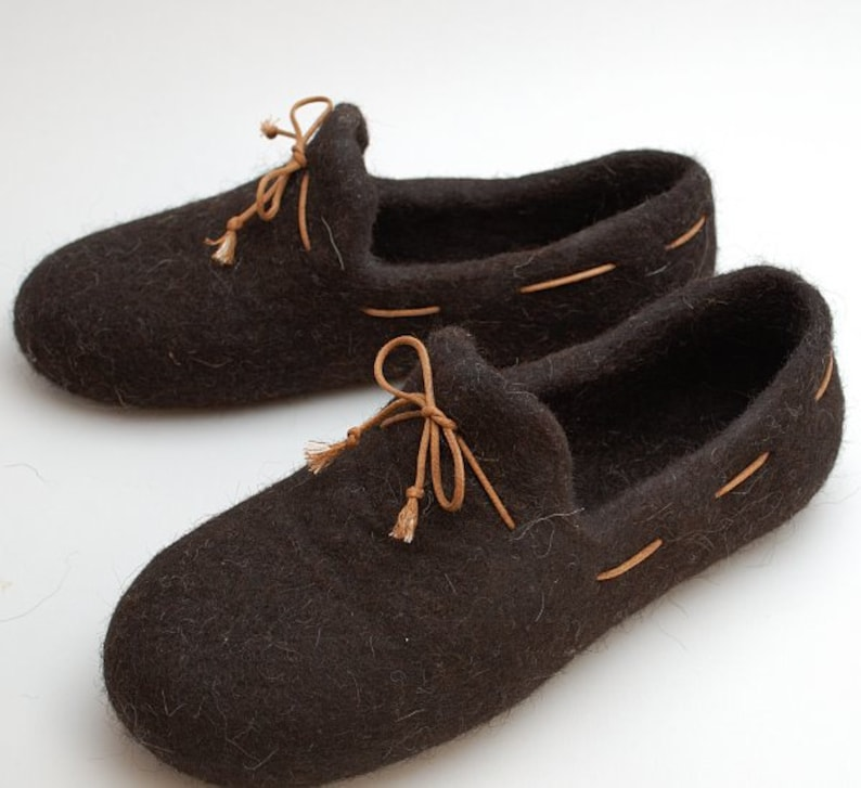 b41735b0d6c1d READY to SHIP size eu 45/US men 11.5 Felted wool slipper loafers coffee  brown with rubber soles