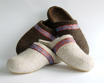 Set of 2 Handmade eco friendly felted slippers from natural wool - beige/brown with orange decor - wool slippers - woman house shoes