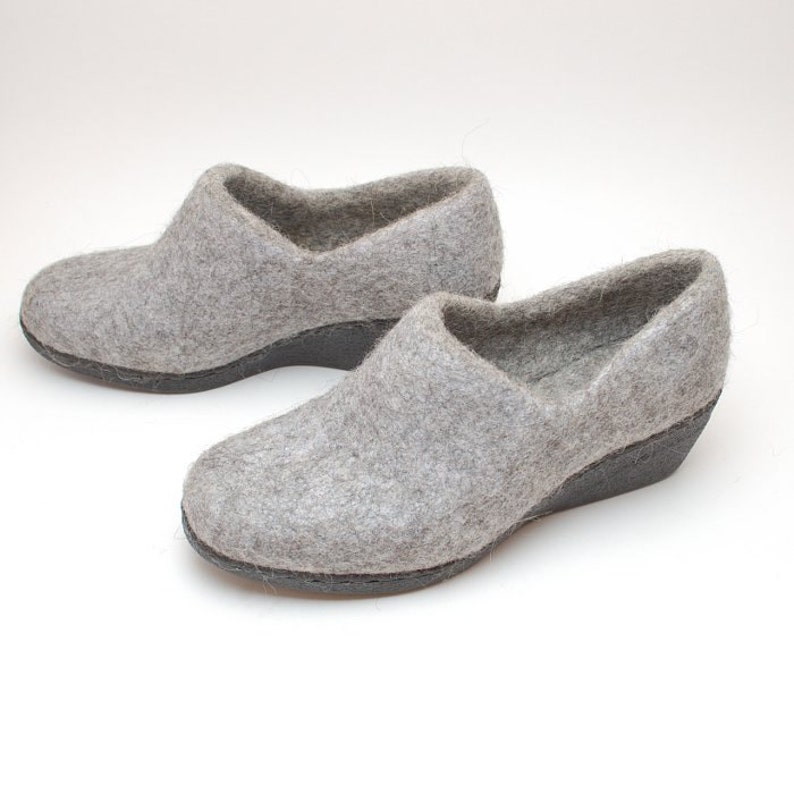 Women/'s Grey Ankle Boots with Heel felted