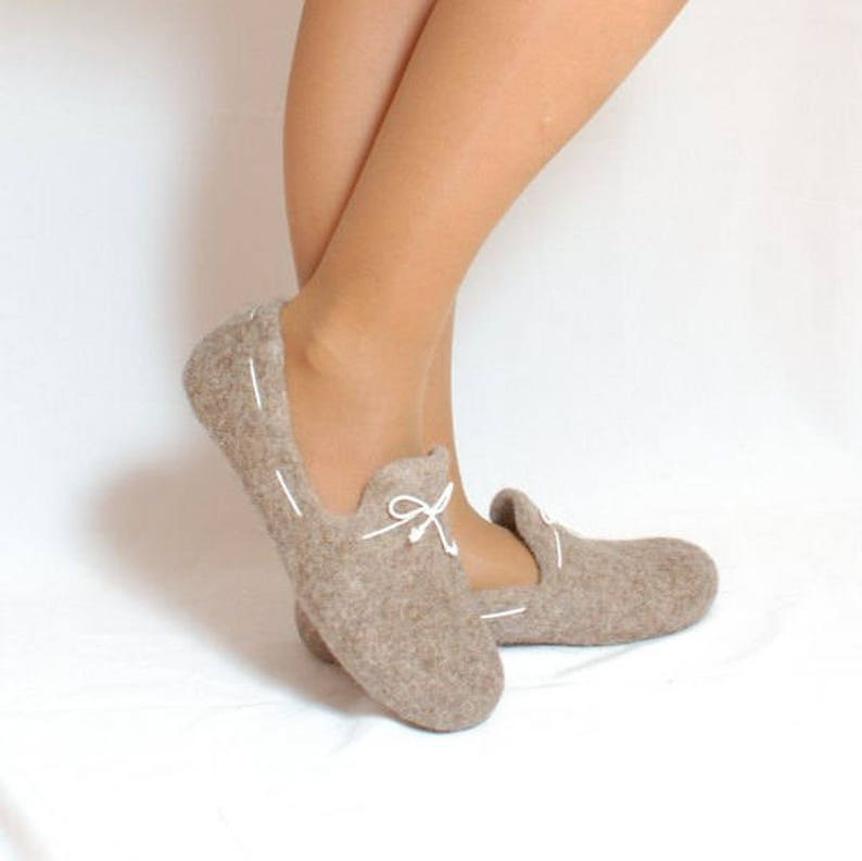 2b4009b3c210a Felted wool loafers cappuccino with white laces - handmade natural organic  wool slippers