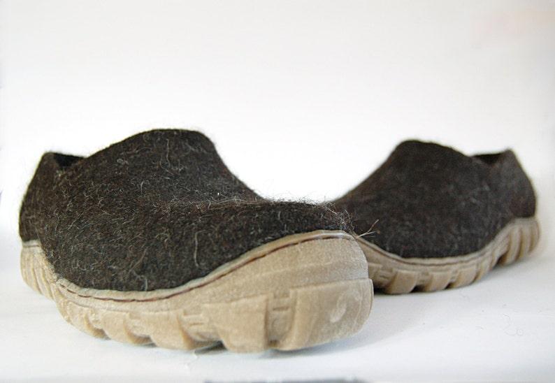 Mens felted shoes from natural dark brown wool Dark brown