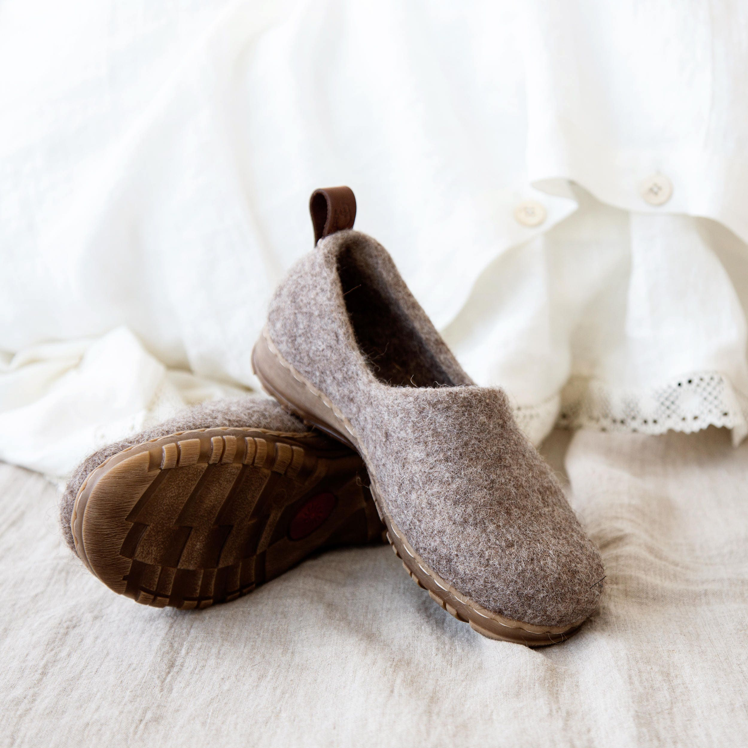 2f2a64e6b3497 Cappuccino minimalist shoes, felted boiled wool clogs