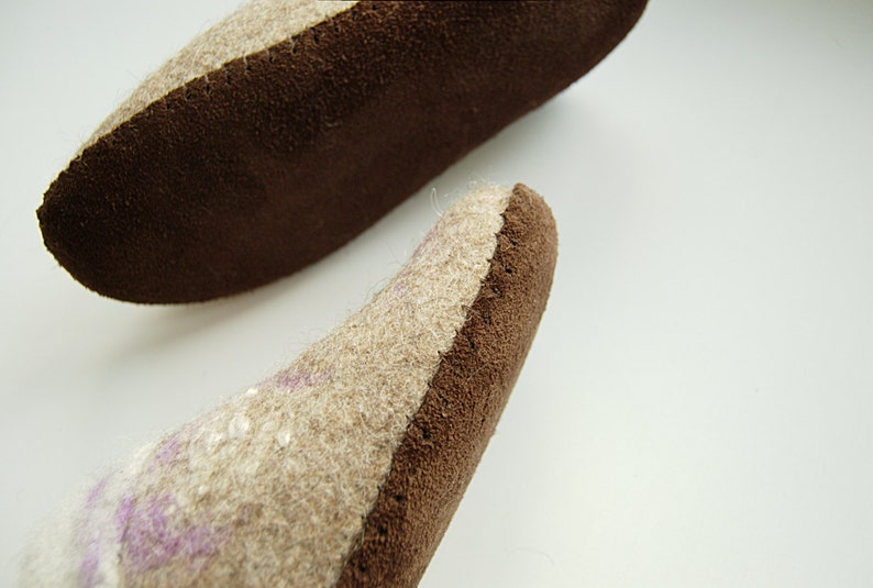 Natural upcycled leather soles handmade for my felted clogs  image 0