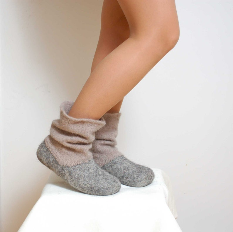 Felted wool slipper boots Grey  organic wool felt boots  image 0