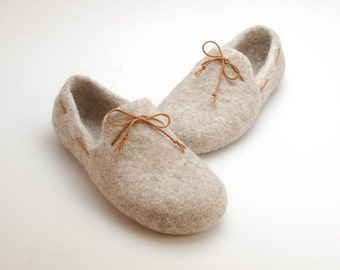 READY to SHIP Beige felted loafers from natural organic wool size EU38/us womens 7.5