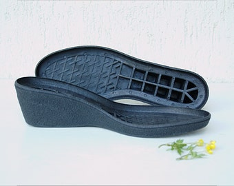 Rubber soles wedges for my felted clogs - wedge shoe sole beige black - wedge shoe sole