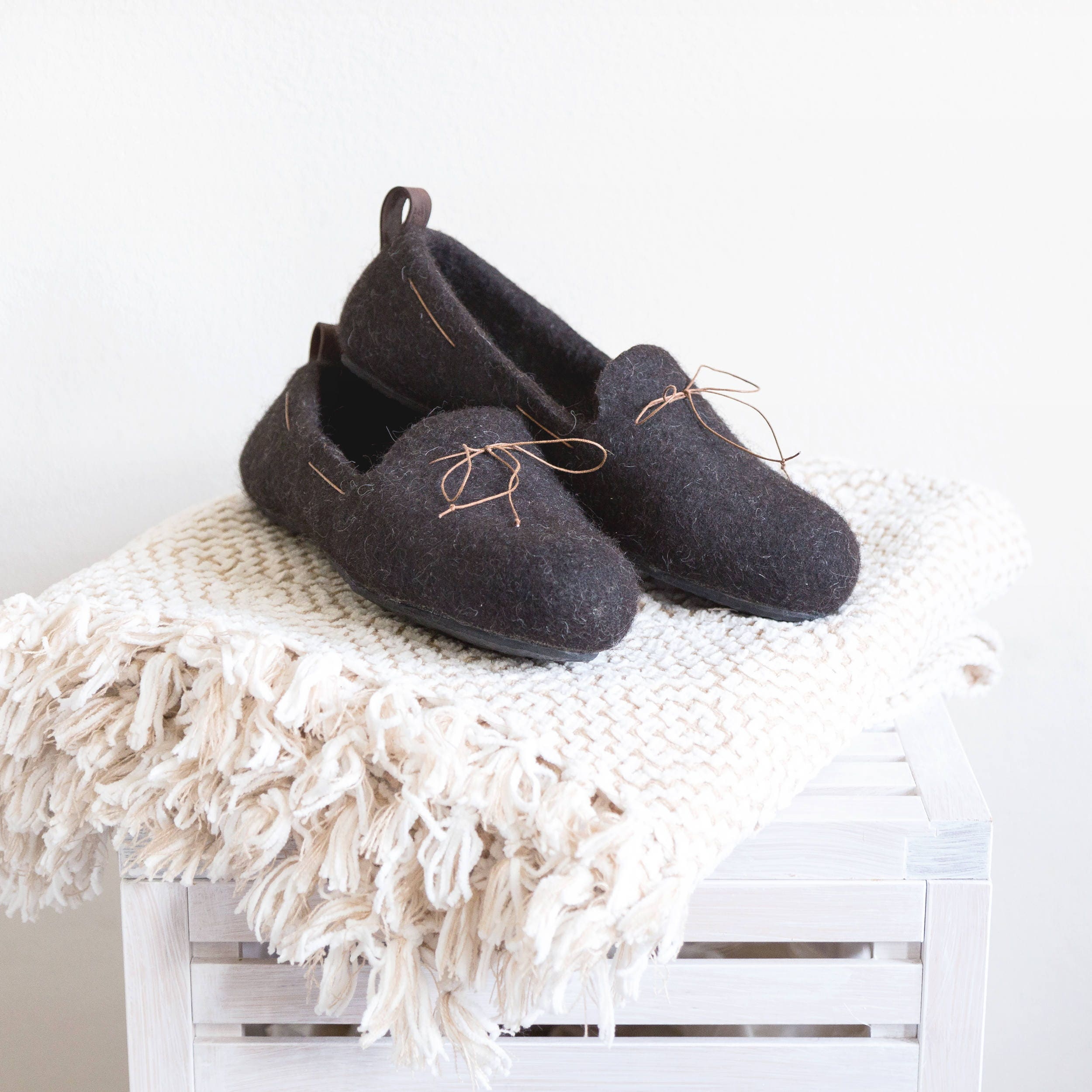 2765f1bb493 Felted wool slipper loafers coffee brown - handmade natural organic ...