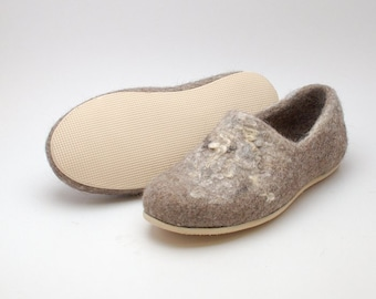 Rubber soles for my felted clogs - light slipper sole beige black - thin shoe sole