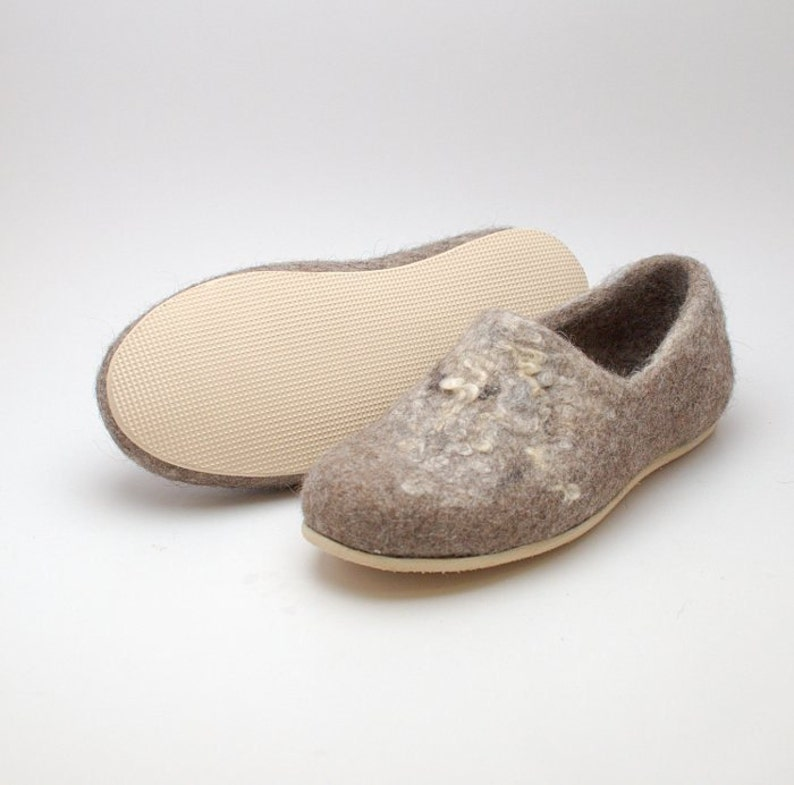 Rubber soles for my felted clogs  light slipper sole beige image 0