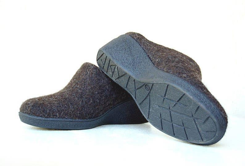 Felted closed toe mules for cold feet from natural wool image 0
