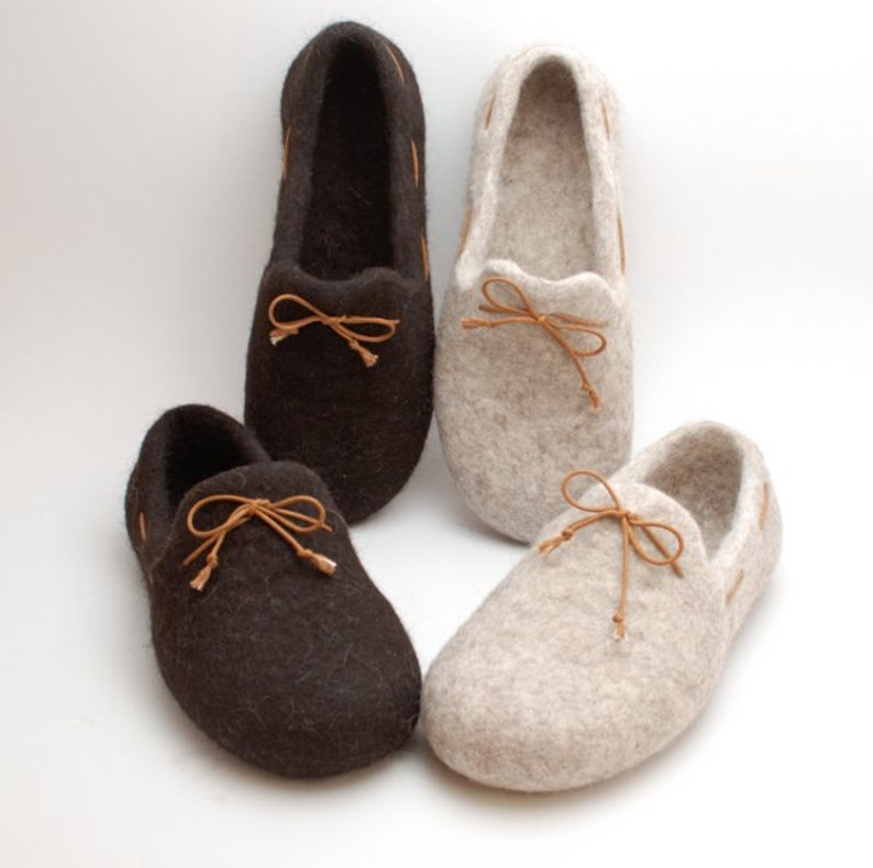 5804ef9417a5a Felt slipper loafers set of 2 pairs - handmade natural organic wool  slippers - eco wedding gift