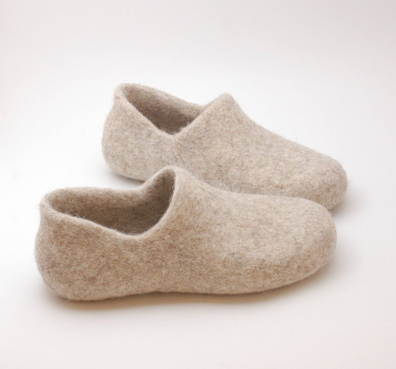 Eco Friendly Slippers: Felted Wool Clogs Just Beige