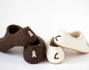 Wedding shoes gift - Personalized shoes - felted wool clogs for him and for her with hearts - bridal shoes - bridesmaids gift
