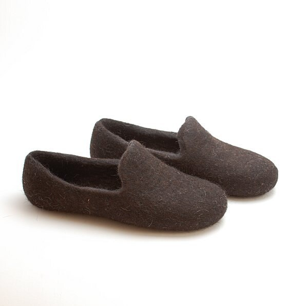 836572ef4f64 Felted wool slipper loafers dark brown - eco slippers - handmade felt  organic wool house shoes