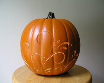 Decorative Scroll Carved Pumpkin