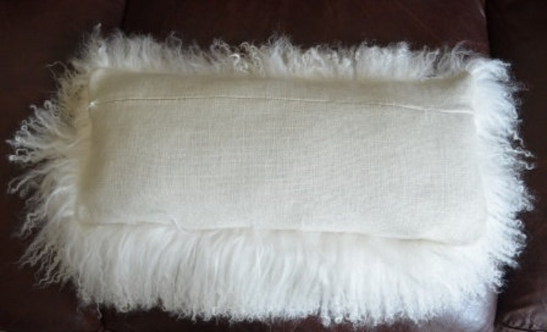 Fur Pillow Mongolian Natural White Fur Sheepskin