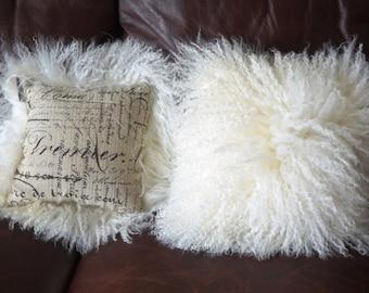 "Mongolian Lamb Fur Pillows  Pair of 10"""