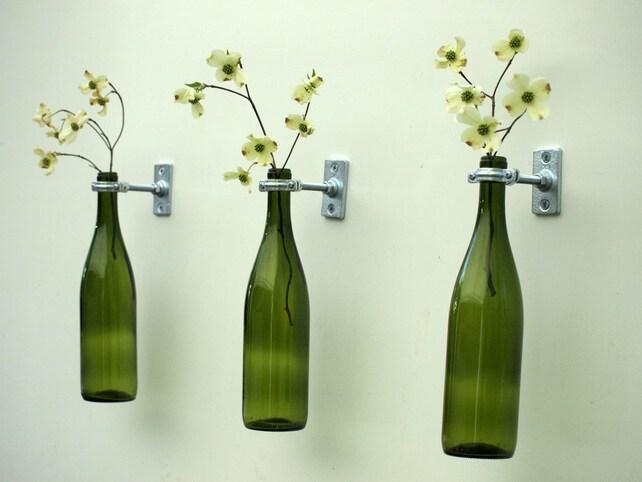 3 Hardware Only Wine Bottle Wall Flower Vases Etsy