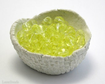 Lemon Yellow Glass Beads 6mm Czech Fire Polished Round Faceted (35) Spring