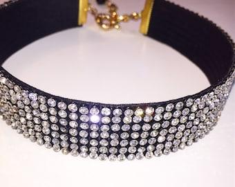 Black Clear Crystal Choker, choker jewelry, crystal jewelry