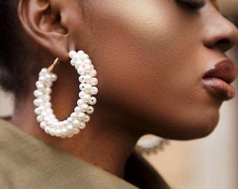Pearl Gold Hoops, Hoop Earrings, Gold Hoops, Gold Hoops Pearl Earring, Hoops, Pearl Hoops, jewellery