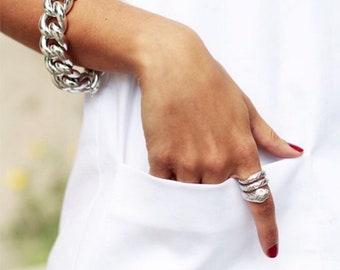 Glossy silver chunky links bracelet, Extra Large Silver Chunky Chain, Silver Curb Chain, Silver Chunky Chain, chunky chain  jewelry