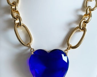 Blue Crystal Heart Gold Chunky Chain necklace, Blue Heart Necklace, 2020 Gold Chain Necklace, Heart Charm Chunky chain,  jewellery