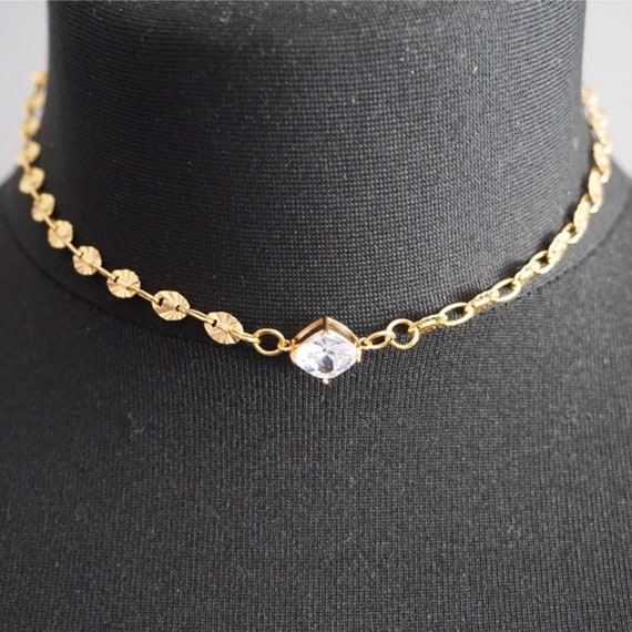 ff2dcf1074505 Gold Choker Necklace Gold crystal Necklace Gold Choker Chain Clear crystal  Choker Dainty Gold Choker Clear crystal Jewelry Mothers Day Gift