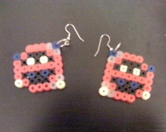 Perler NES Dr Mario Red Virus Earrings