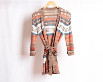 1b1a717d08 MID CENTURY vintage women s sweater pink blue burnt orange bright boho  sweater colored cardigan PREPPY wear