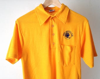 vintage Los Angeles RAMS 90s oxford yellow polo short sleeve ERIC DICKERSON  yellow nfl 80s polo mens vintage bec4fac7e