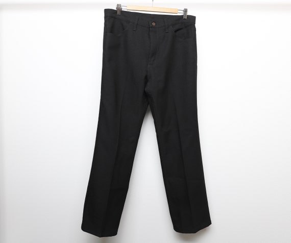 vintage STA-prest black SLACKS 60s 70s pants 35 X
