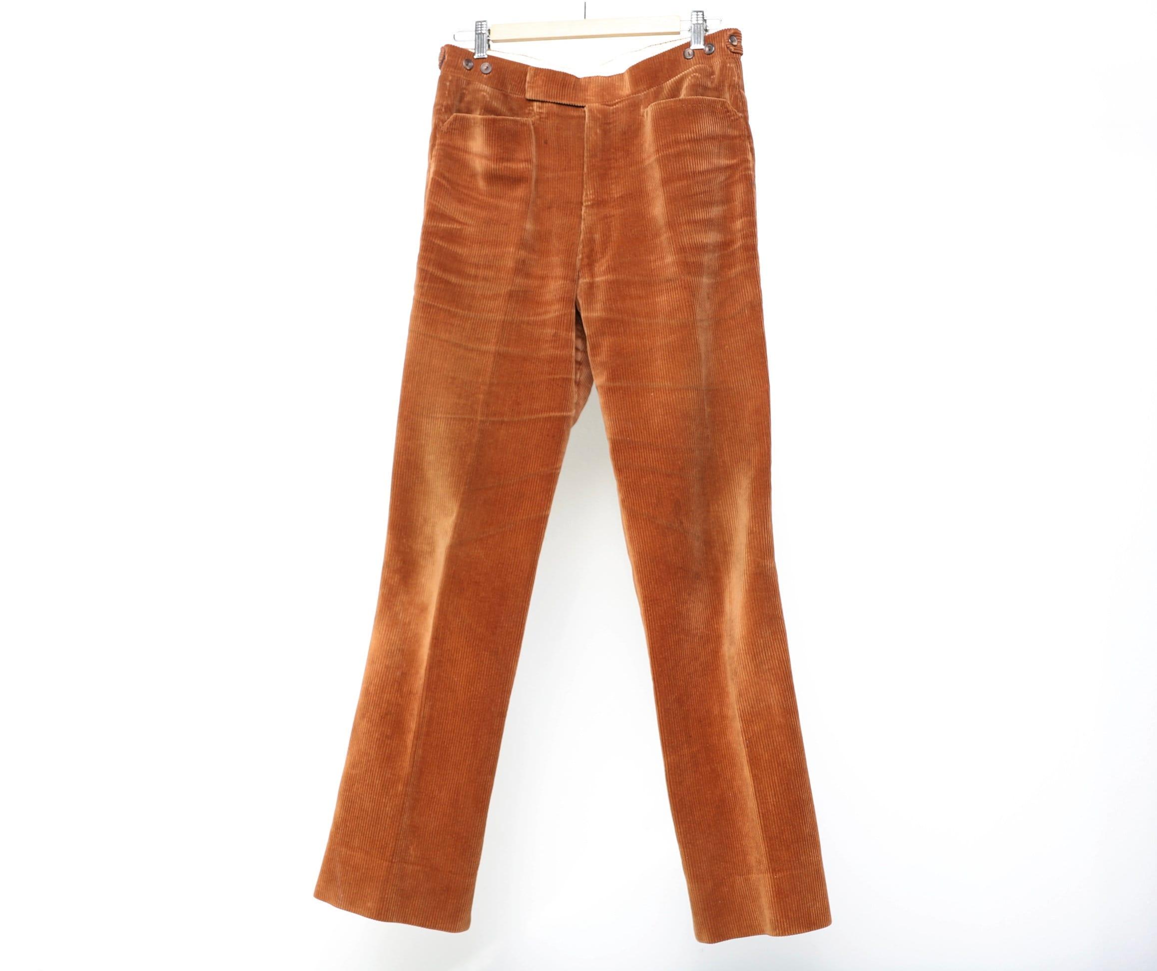 1960s – 70s Men's Ties | Skinny Ties, Slim Ties Vintage Brown Burnt Orange Corduroy Sta Prest Slacks Corduroy Finish 1960S Pants 31 X Jeans $24.95 AT vintagedancer.com