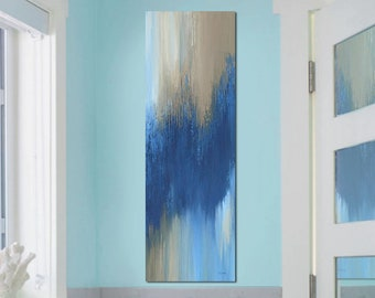 Extra tall vertical wall art canvas print, Navy blue abstract wall decor for kitchen, staircase & bathroom pictures