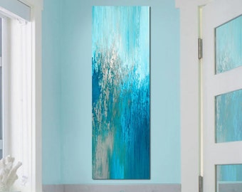 Abstract wall art canvas print, Tall vertical turquoise blue & taupe wall decor for staircase, kitchen or bathroom pictures