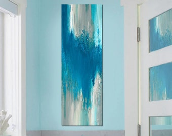 Tall vertical wall art canvas abstract, Turquoise blue & taupe wall decor for staircase, kitchen or bathroom pictures