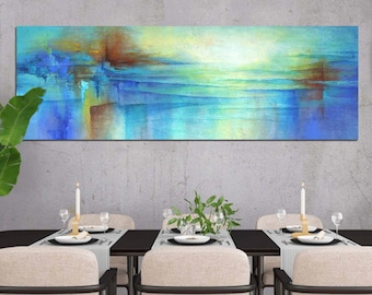 Panoramic wall art canvas, Extra wide abstract print of original painting, Blue and orange wall decor