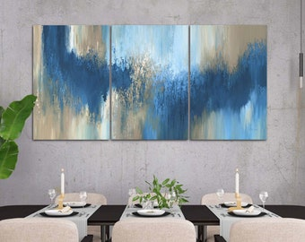 Navy blue abstract triptych, 3 piece wall art canvas set, Large pictures for living dining room, office or bachelor decor