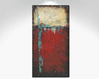 Southwest decor / Red black aqua & teal abstract - tall canvas wall art, Long narrow vertical art print