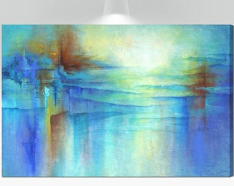 Large wall art, Canvas art print of abstract painting, Blue, teal, turquoise, orange wall decor picture