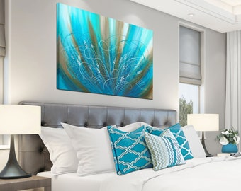 Bedroom picture, Flower art work / Brown aqua blue turquoise & teal print / Large abstract floral canvas wall art above bed decor
