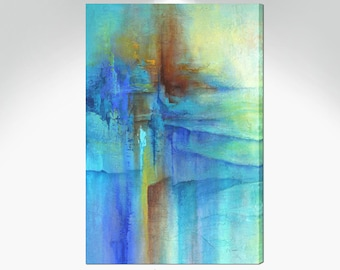 Tall vertical canvas wall art, Blue & orange pictures for entry, kitchen, laundry room, bedroom or dining decor