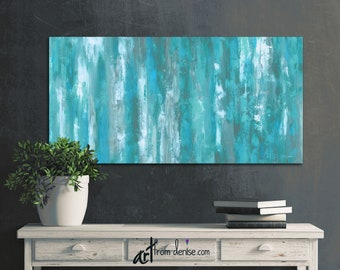 Turquoise Wall Art Canvas Original Abstract Painting Teal Etsy