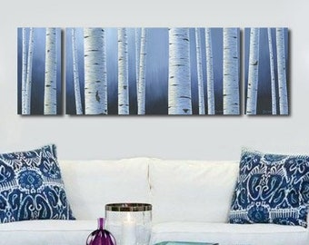 Aspen white painted bedroom Sets Large Panoramic Navy Blue White Wall Art Birch Aspen Tree Canvas Art Set Panel Artwork For Blue Bedroom Living Or Dining Room Pink Little Notebook Navy Blue White Wall Art Birch Aspen Tree Painting Canvas Etsy