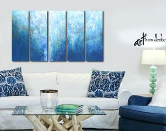 Dark blue & white original abstract paintings, Large 5 panel canvas art set for man cave, bedroom, living room or dining area