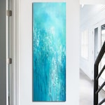 Tall vertical blue wall art, Teal turquoise aqua gray white, Abstract painting - Canvas Art Print