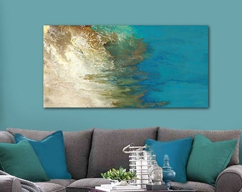 Teal wall art, Abstract horizontal canvas, Turquoise blue olive green brown & beige, Masculine wall decor