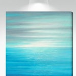 Ocean Sunset wall art, Aqua Teal Gray Blue White, Large canvas square, Coastal Beach house decor, Bedroom, Living room, Bathroom, Office